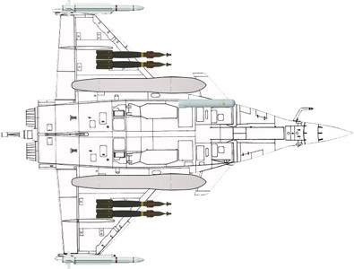Configuration typique d'attaque au sol : 4 bombes guidées laser GBU-12 Paveway II (2 sous chaque aile) - 2 missiles air-air Mica IR (1 à chaque extrémité d'aile) - 1 nacelle de désignation laser jour/nuit Damoclès - 2 bidons largables de 2.000 litres (1 sous chaque aile).
