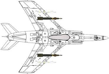 Configuration typique d'attaque au sol : 2 GBU-12 Paveway II (1 sous chaque aile) - 1 missile air-air IR Magic 2 (aile bâbord) - 1 missile air-air IR Magic 2 (aile tribord) - 1 bidon largable de 600 litres.